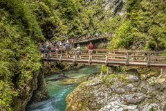Soteska vintgar gorge boardwalk with tourists. Soteska vintgar gorge with tourists walking on boardwalk along river valley Stock Photo
