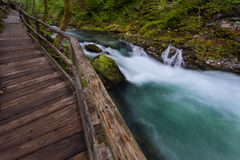 Soteska Vintgar in the river Radovna. Magical canyon with waterfalls and wooden bridge in Slovenia mountains Stock Image