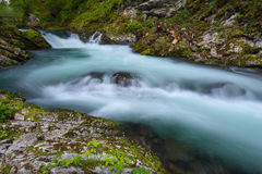 Soteska Vintgar in the river Radovna. Magical canyon with waterfalls and wooden bridge in Slovenia mountains Royalty Free Stock Images