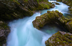 Soteska Vintgar in the river Radovna. Magical canyon with waterfalls and wooden bridge in Slovenia mountains Royalty Free Stock Image