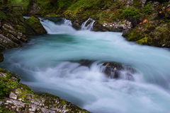 Soteska Vintgar in the river Radovna. Magical canyon with waterfalls and wooden bridge in Slovenia mountains Royalty Free Stock Photography