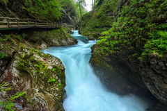 Soteska Vintgar in the river Radovna. Magical canyon with waterfalls and wooden bridge in Slovenia mountains Stock Photo