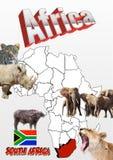 Soth Afryka mapa z flaga i zwierzętami Zdjęcie Stock