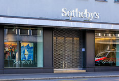 Sotheby`s office on Tahlstrasse street in Zurich, Switzerland. Zurich, Switzerland - 27 December, 2016: Sotheby`s office on Tahlstrasse street. Sotheby`s is one Stock Photography