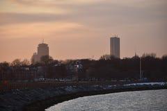 Sothie da ilha do castelo do por do sol de Boston Foto de Stock