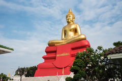 Sothon pastor Sothon bishop. A statue with red base and Thai languate is Laung Por Sothon a name of statue royalty free stock photography