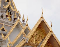 Sothorn. WARARAM, the white large and full with thai contemporary Buddhism arts ornament decorated royal temple in CHACHOENGSAO province, next to BANGKOK Royalty Free Stock Photo