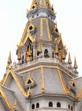 Sothorn. WARARAM, the white large and full with thai contemporary Buddhism arts ornament decorated royal temple in CHACHOENGSAO province, next to BANGKOK Royalty Free Stock Image