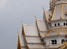 Sothorn. WARARAM, the white large and full with thai contemporary Buddhism arts ornament decorated royal temple in CHACHOENGSAO province, next to BANGKOK Stock Images