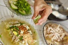 Куриный суп индонезийца Soto Стоковые Изображения RF