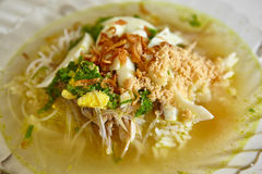 Куриный суп индонезийца Soto Стоковая Фотография