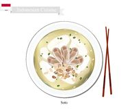 Soto or Indonesian Chicken Soup with Meat Stock Photography