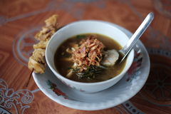 Soto Kudus. A traditional chicken soup from Kudus, Jawa Tengah, Indonesia. Served in a small bowl royalty free stock images