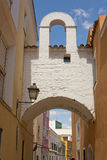 Soto Mancera Arch, Badajoz. Badajoz downtown old village in white whitewashed typical arch, Spain Royalty Free Stock Images