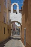 Soto Mancera Arch, Badajoz. Badajoz downtown old village in white whitewashed typical arch, Spain Royalty Free Stock Image