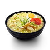 Soto Noodles Indonesian Food Isolated background. Soto noodle with egg, chicken and vegetable Stock Image