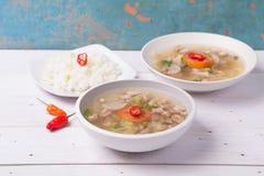 Soto o el coto o la sopa indonesia de la carne de vaca sirvieron con el arroz blanco, el tomate, la soja, y la cebolla verde Imágenes de archivo libres de regalías