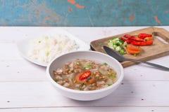 Soto o el coto o la sopa indonesia de la carne de vaca sirvieron con el arroz blanco, el tomate, la soja, y la cebolla verde Fotografía de archivo libre de regalías
