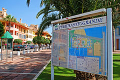 Sotogrande marina plan. Plan of the marina area, Puerto Sotogrande, Cadiz Province, Andalucia, Spain, Western Europe Stock Photography