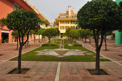 Sotogrande square. Square located in at Sotogrande  in the province of Cadiz, in the south of Spain Stock Photo