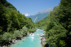 Sotscha. The beautiful soca in slovenia Stock Image