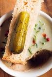 Sottaceto con pane e minestra Fotografia Stock Libera da Diritti