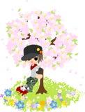 Sotto Cherry Tree Fotografia Stock