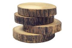 Sottobicchieri di legno del caffè o della birra isolati su fondo bianco con il percorso di ritaglio fotografia stock