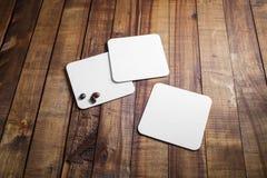 Sottobicchieri quadrati in bianco Fotografia Stock