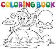 Sottomarino del libro da colorare con il marinaio Fotografie Stock