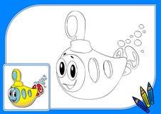Sottomarino giallo del libro da colorare Illustrazione Vettoriale