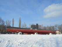 Sottomarino militare nel parco della neve Fotografie Stock Libere da Diritti