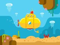 Sottomarino nell'ambito dell'illustrazione piana dell'acqua Fotografia Stock