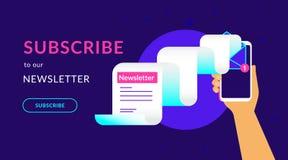 Sottoscriva alla nostra illustrazione al neon di vettore piano settimanale del bollettino per web design del ux di ui illustrazione vettoriale