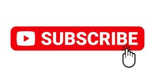 Sottoscriva il bottone del sito Web Il video canale o bollettino online sottoscrive il bottone con il puntatore del dito, element illustrazione di stock