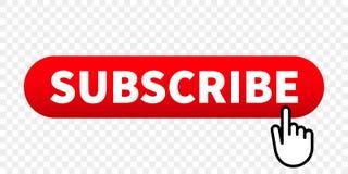 Sottoscriva il bottone rosso di vettore del sito Web con il puntatore di clic del dito della mano illustrazione di stock