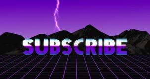 Sottoscriva la video animazione d'annata 80s nel retro sguardo porpora con fulmine stock footage