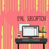 Sottoscrizione del email di rappresentazione del segno del testo Opzione concettuale della foto di cui permette che gli ospiti ri illustrazione di stock