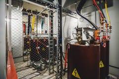 Sottostazione ad alta tensione del trasformatore elettrico Immagini Stock Libere da Diritti