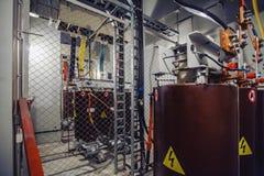 Sottostazione ad alta tensione del trasformatore elettrico Fotografia Stock Libera da Diritti