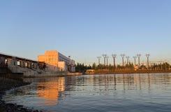 Sottostazione ad alta tensione idroelettrica Fotografia Stock Libera da Diritti