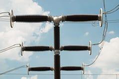 Sottostazione ad alta tensione nella centrale elettrica di energia idroelettrica di Kanev, Immagini Stock
