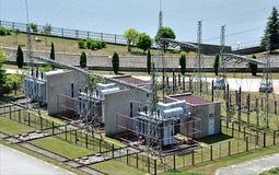 Sottostazione del trasformatore ed energia elettrica Immagine Stock Libera da Diritti