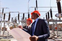 Sottostazione elettrica dei responsabili Fotografia Stock Libera da Diritti