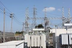 Sottostazione elettrica elettrica Fotografia Stock Libera da Diritti