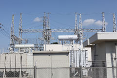 Sottostazione elettrica elettrica Fotografie Stock