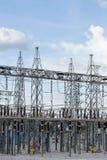 Sottostazione elettrica elettrica ad alta tensione Fotografia Stock