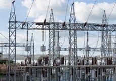 Sottostazione elettrica elettrica ad alta tensione Immagini Stock Libere da Diritti