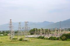 Sottostazione elettrica elettrica ad alta tensione Fotografie Stock