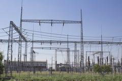 Sottostazione elettrica per la corrente pesante con le resistenze Immagine Stock Libera da Diritti